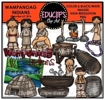 Wampanoag Indians Clip Art Bundle {Educlips Clipart}.