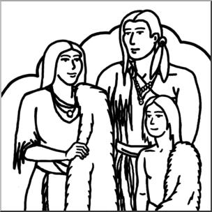 Clip Art: Wampanoag Family B&W I abcteach.com.