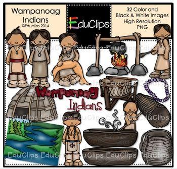 Wampanoag Indians Clip Art Bundle {Educlips Clipart.