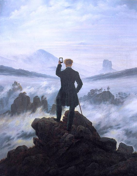 Wanderer above the sea of fog clipart.