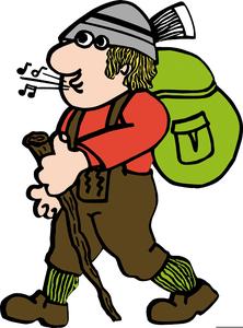Clipart Wanderer Mit Rucksack.