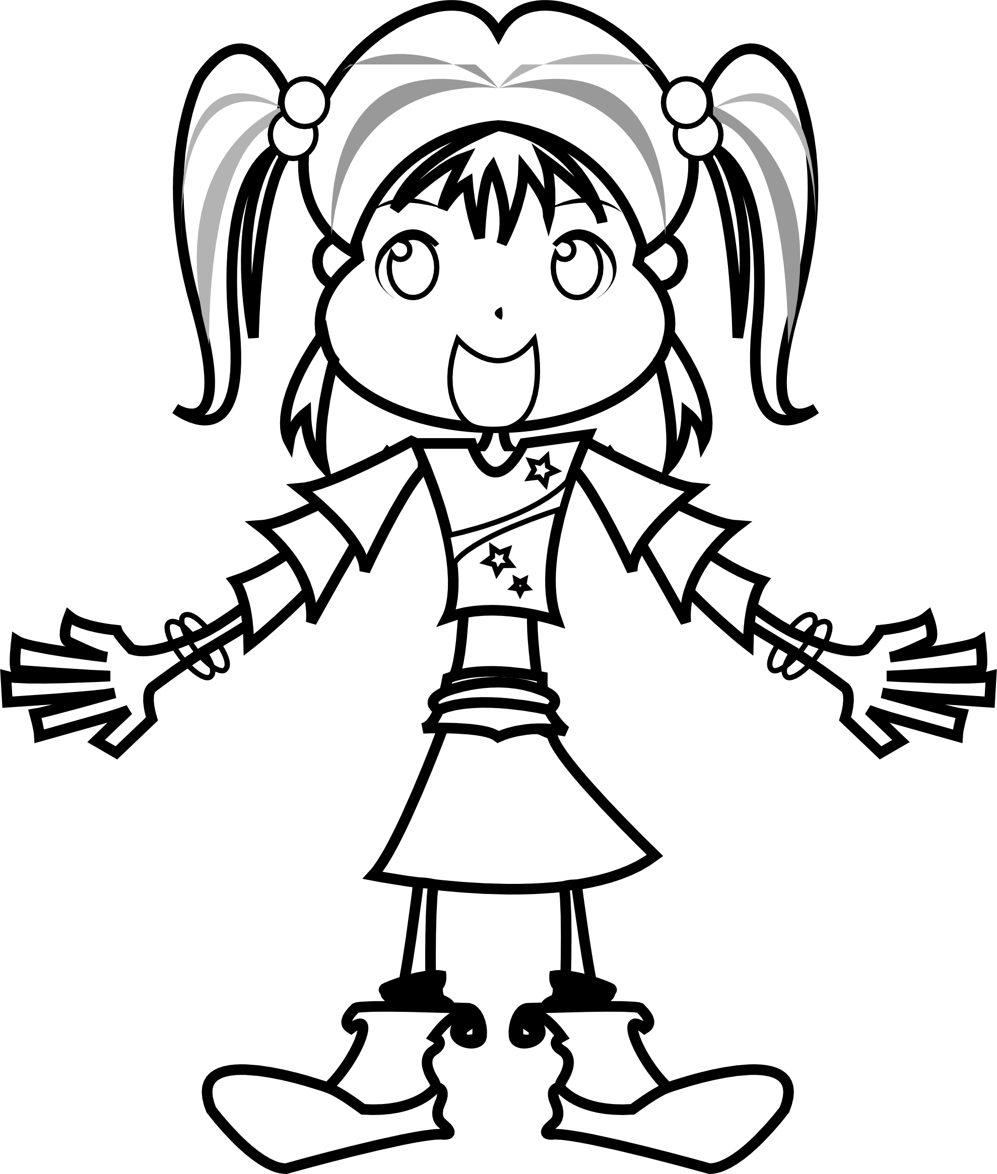 Girls Clipart Black And White