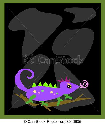 Clipart Vector of Frame with Black Rocks and Chameleon Lizard.