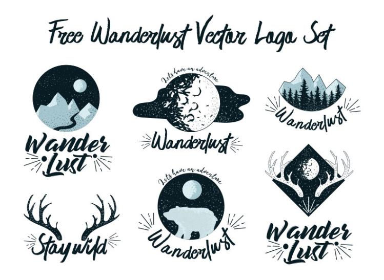 Set Of Free Wanderlust Logo Vectors.