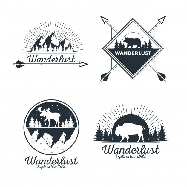 Wanderlust adventure logo Vector.