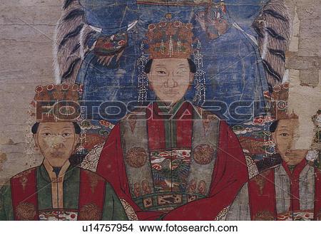Stock Photo of Portrait of Wang Tiansheng's family members.