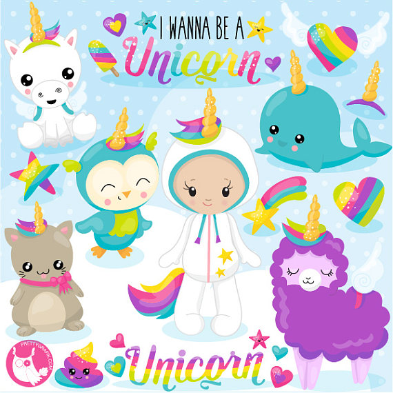 80% OFF SALE Unicorn clipart commercial use, I wanna be a unicorn.