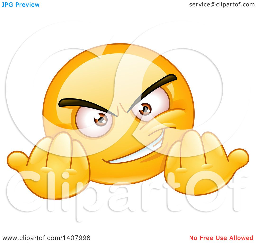 Clipart of a Yellow Smiley Face Emoji Emoticon Gesturing Wanna.