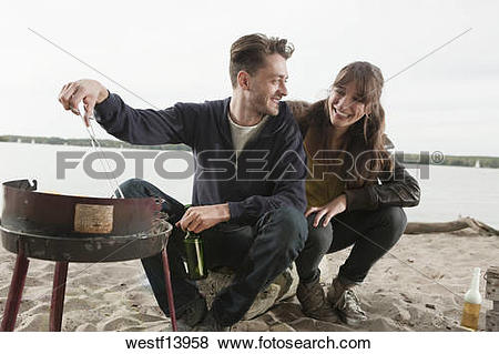 Pictures of Germany, Berlin, Lake Wannsee, Young couple having a.