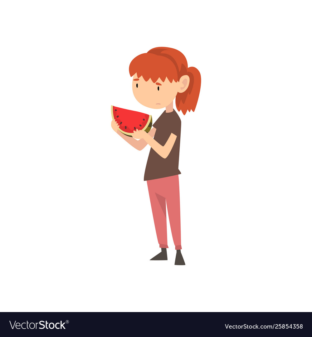 Cute girl does not want to eat watermelon child.