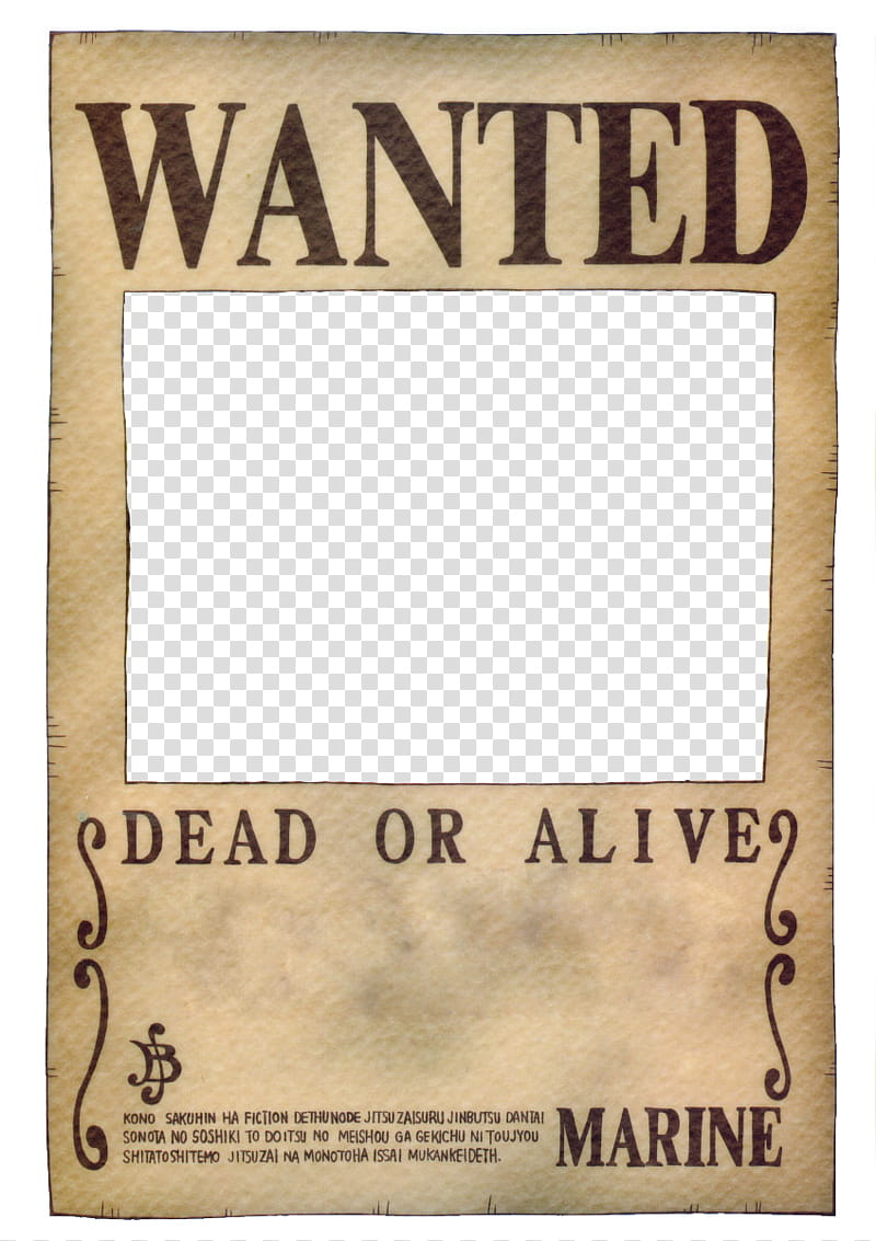 One Piece Wanted Poster, One Piece Wanted poster transparent.
