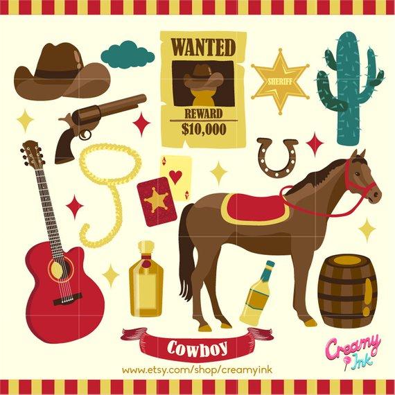 Cowboy Digital Vector Clip art / Cowboys Clipart Design.