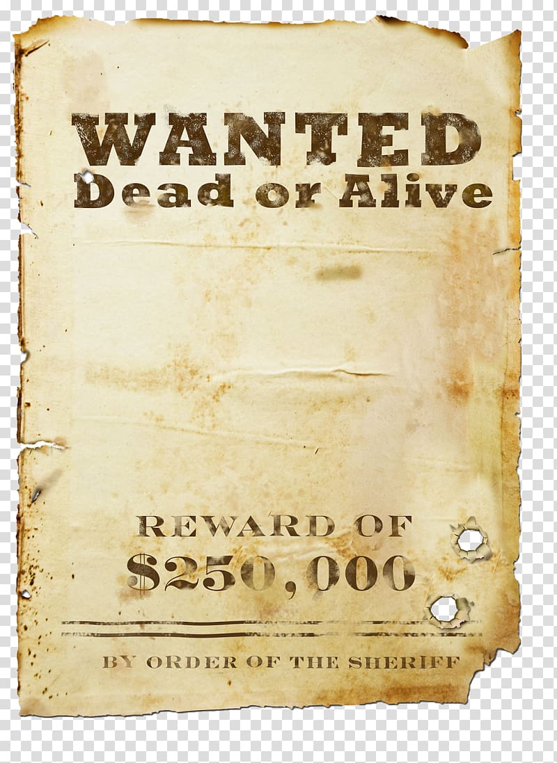 Wanted dead or alive poster illustration, United States Western.