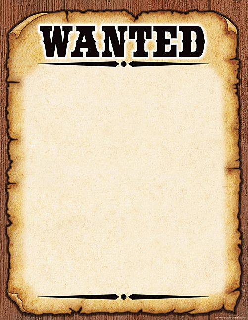 Western Wanted Poster Chart.