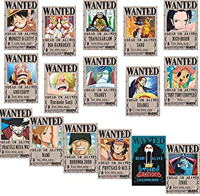 Big Fun One Piece Wanted Posters 42cm×29cm, New Edition, Luffy 1.5 Billion,  Set of 16.