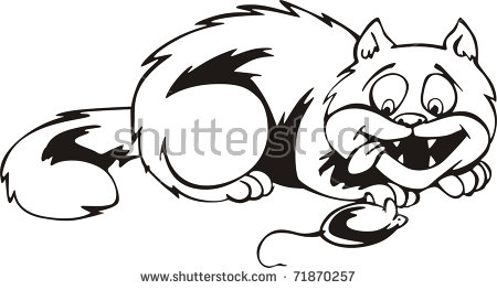 Cat Wanted Catch Eat Small Mouse Stock Vector 71870257.