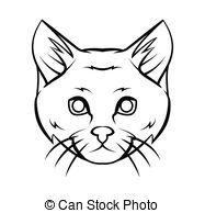 Vector Clip Art of Cat head illustration.