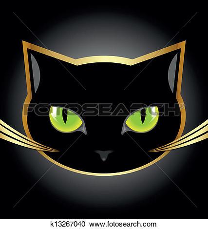 Clipart of Black cat head k13267040.