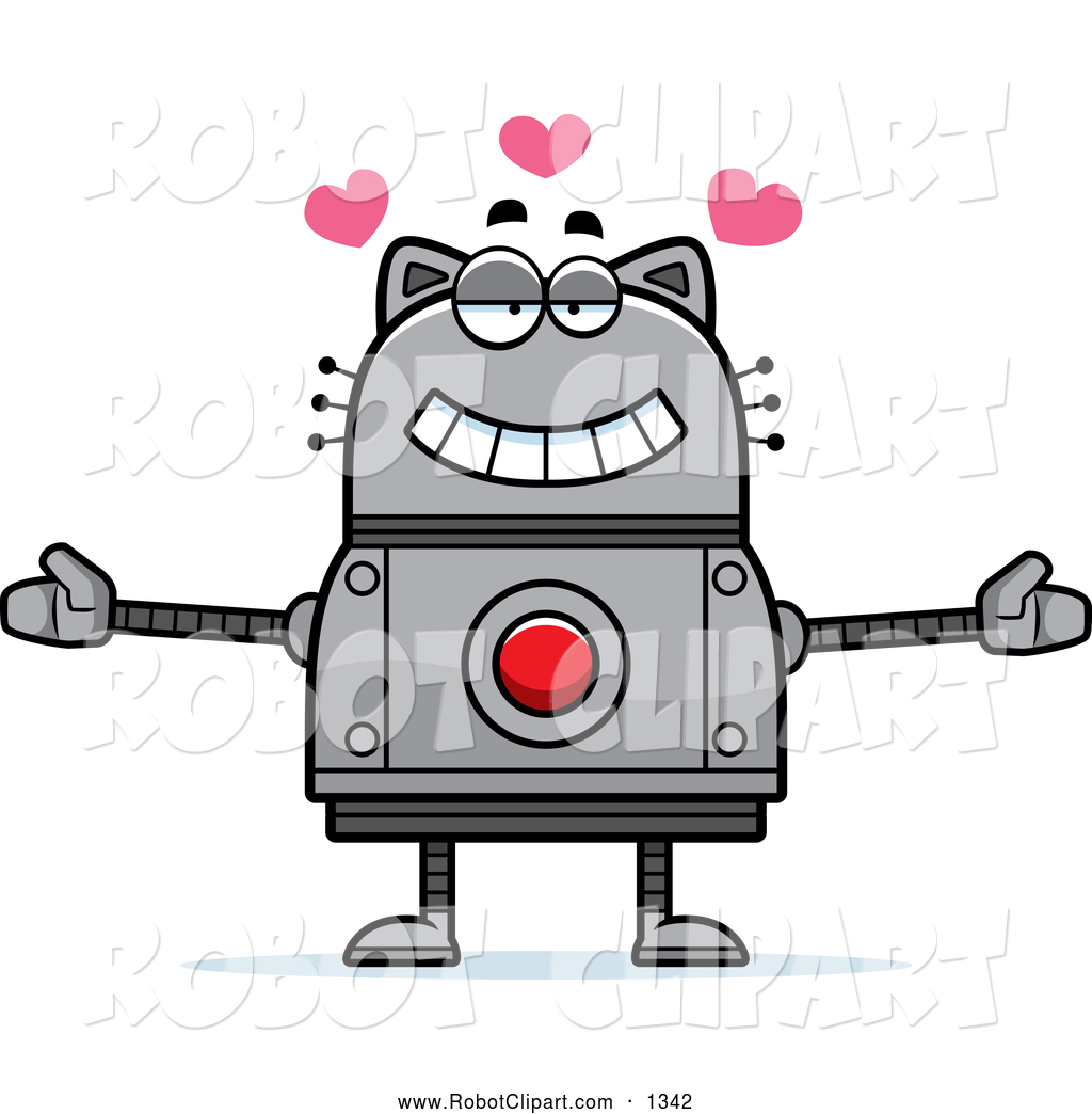 Clipart of a Loving Robot Cat Wanting a Hug by Cory Thoman.