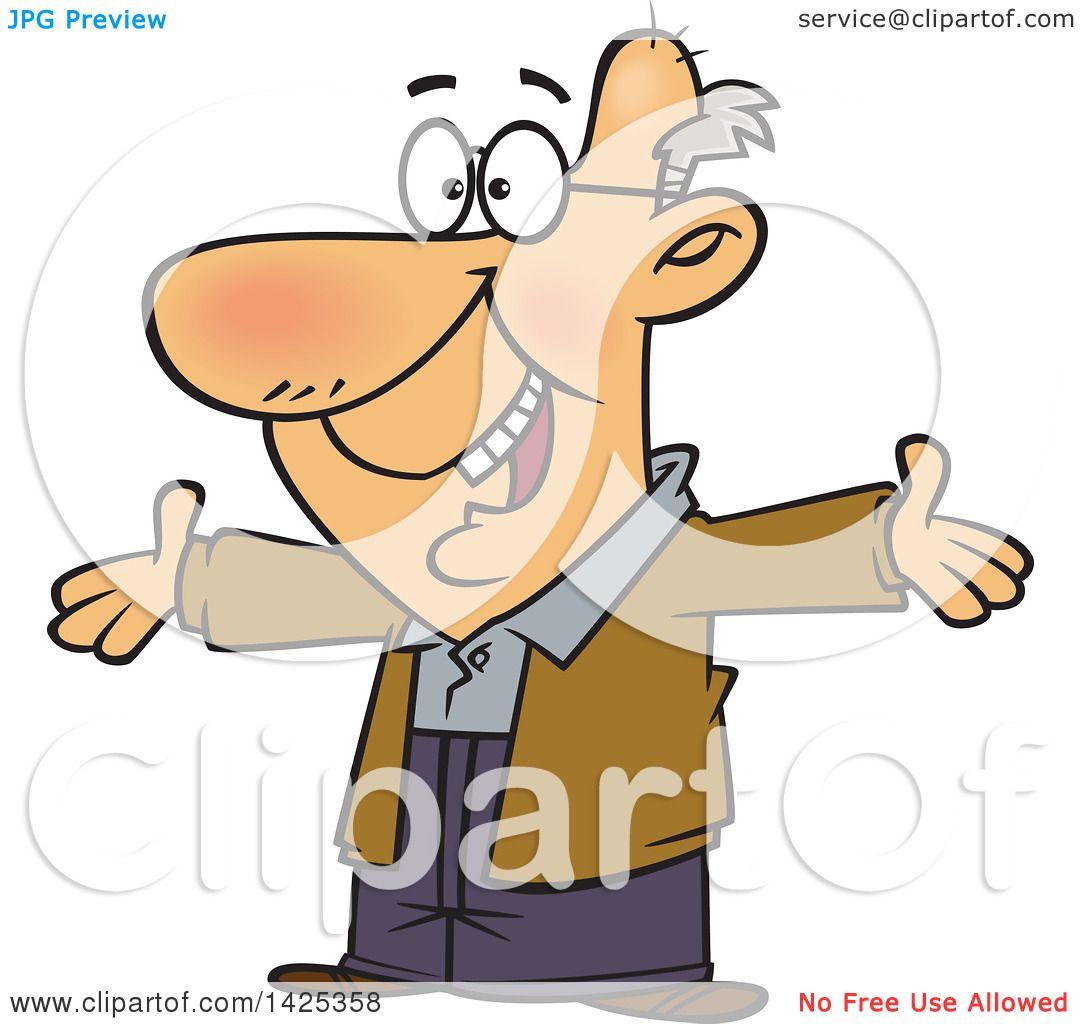 Clipart of a Cartoon Happy Caucasian Grandpa Wanting a Hug.