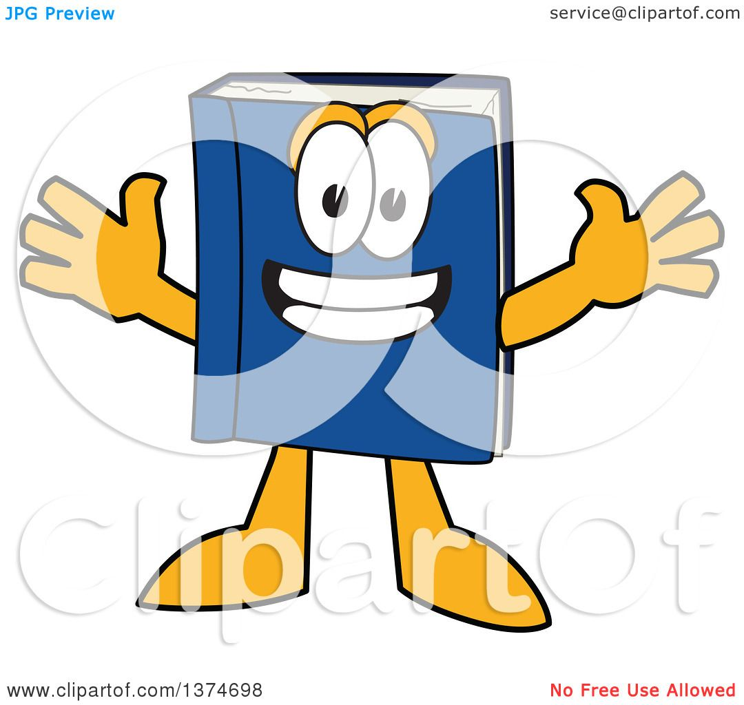 Clipart of a Blue Book Mascot Character Wanting a Hug.