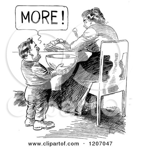 Clipart of a Vintage Black and White Short Man Wanting More Food.