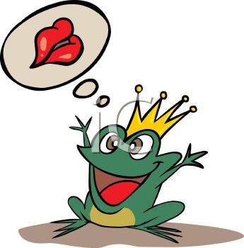 Royalty Free Clip Art Image: Frog Prince Daydreaming About Being.