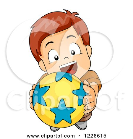 Clipart of a Caucasian Boy Holding up a Ball and Wanting to Play.