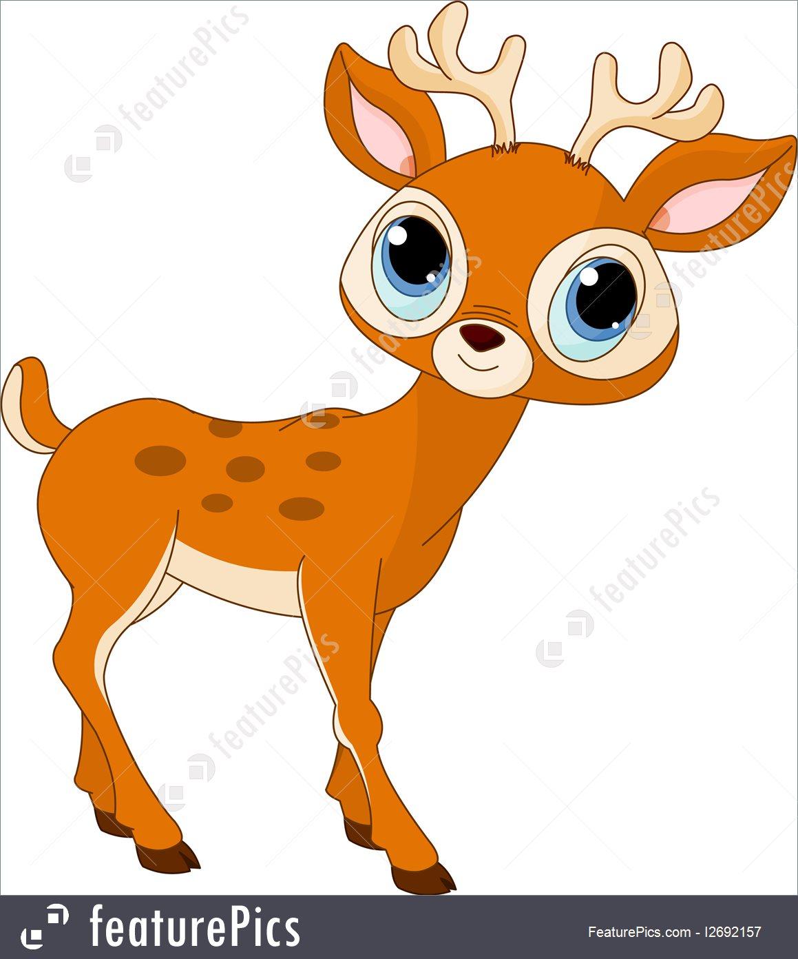 Illustration Of Beautiful Cartoon Deer.