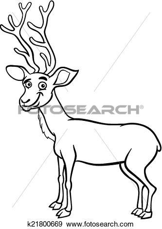Clip Art of wapiti deer cartoon coloring page k21800669.