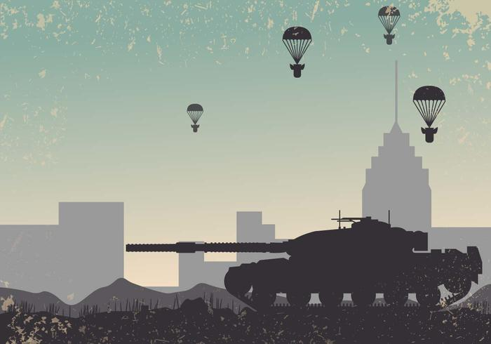 World War 2 Tank Background Vector.