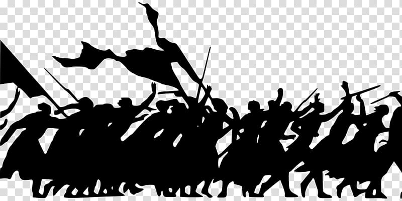 Silhouette of people, War , crowd transparent background PNG.