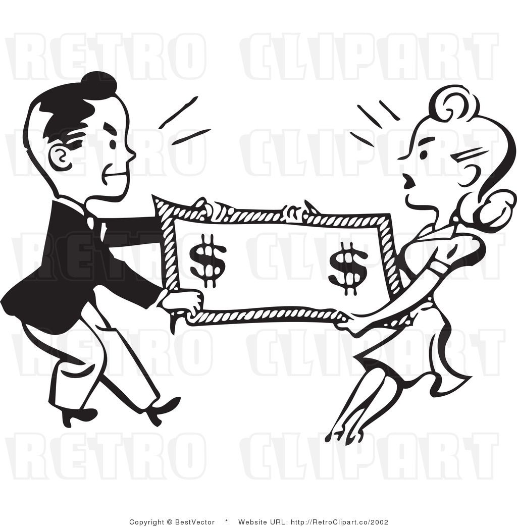 Tug of War Retro Man and Woman Fighting over Money in 2019.