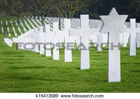 Stock Photograph of jewish cross in a war cemetery k15413589.