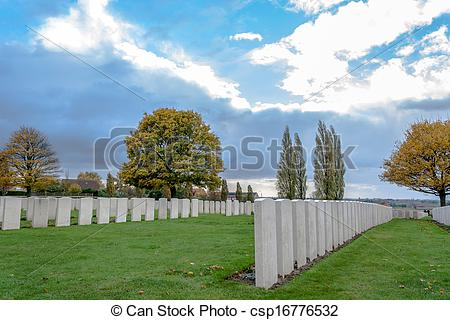 Stock Photos of The great world war cemetery tyne cot first war.