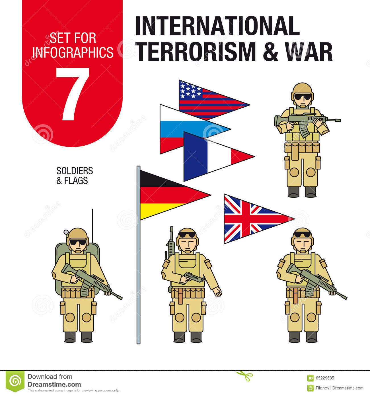 Set For Infographics #7: International Terrorism And War. Islamic.