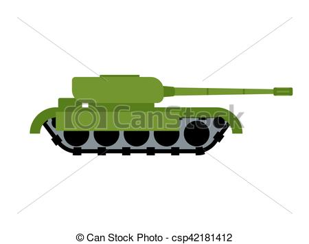 Vector Clip Art of Military Tank isolated. War equipment. Army.