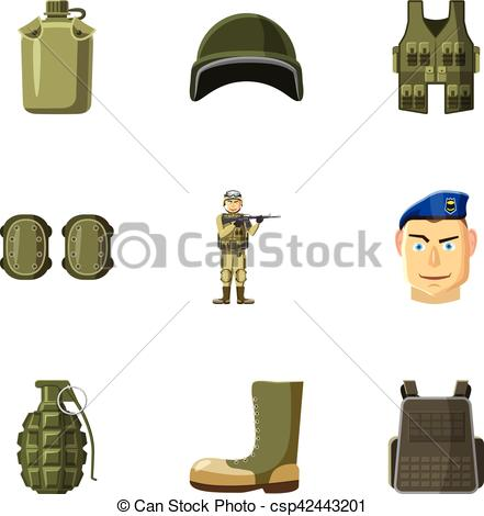 Vector Clipart of Equipment for war icons set, cartoon style.