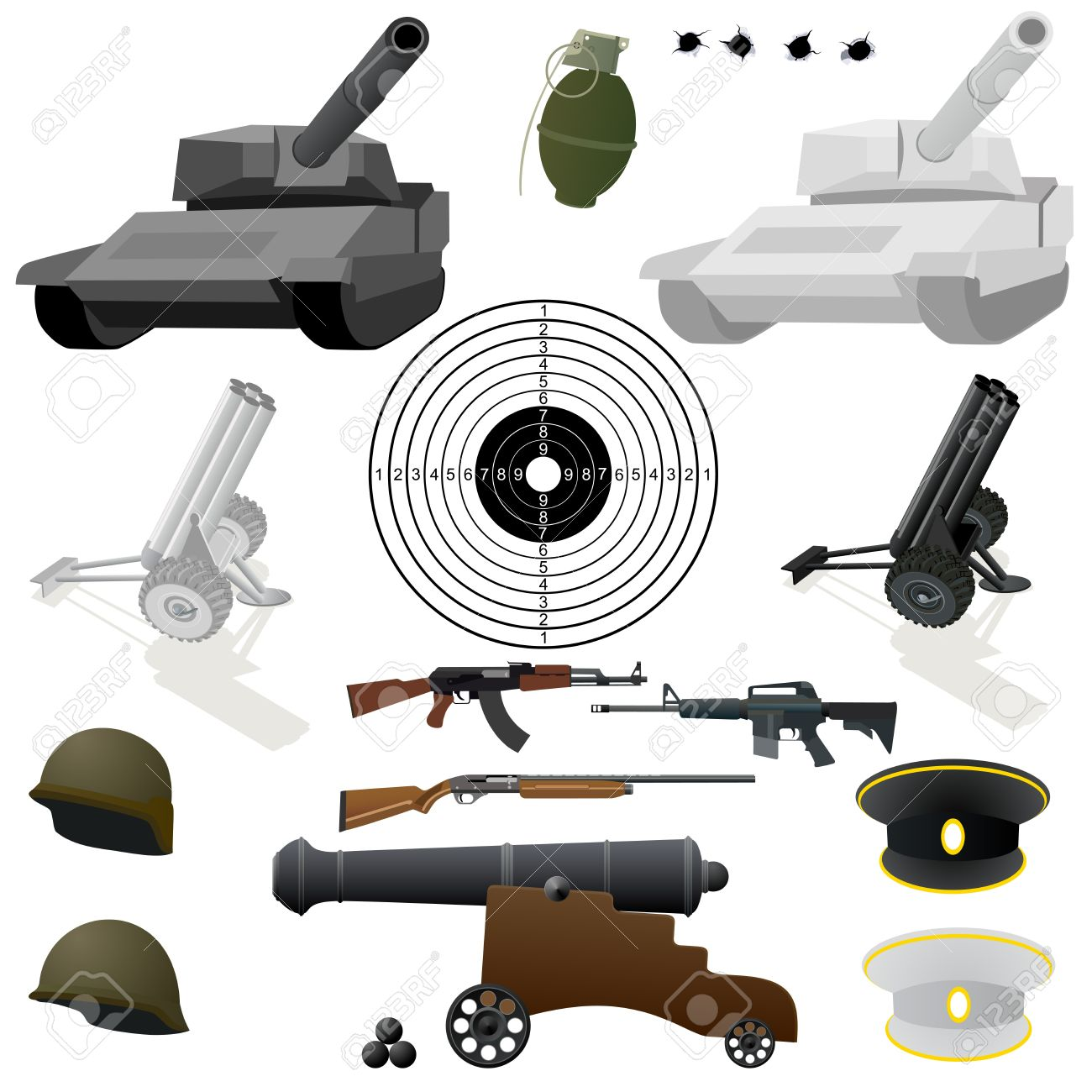 Military Equipment, Small Arms And Military Uniforms. Illustration.