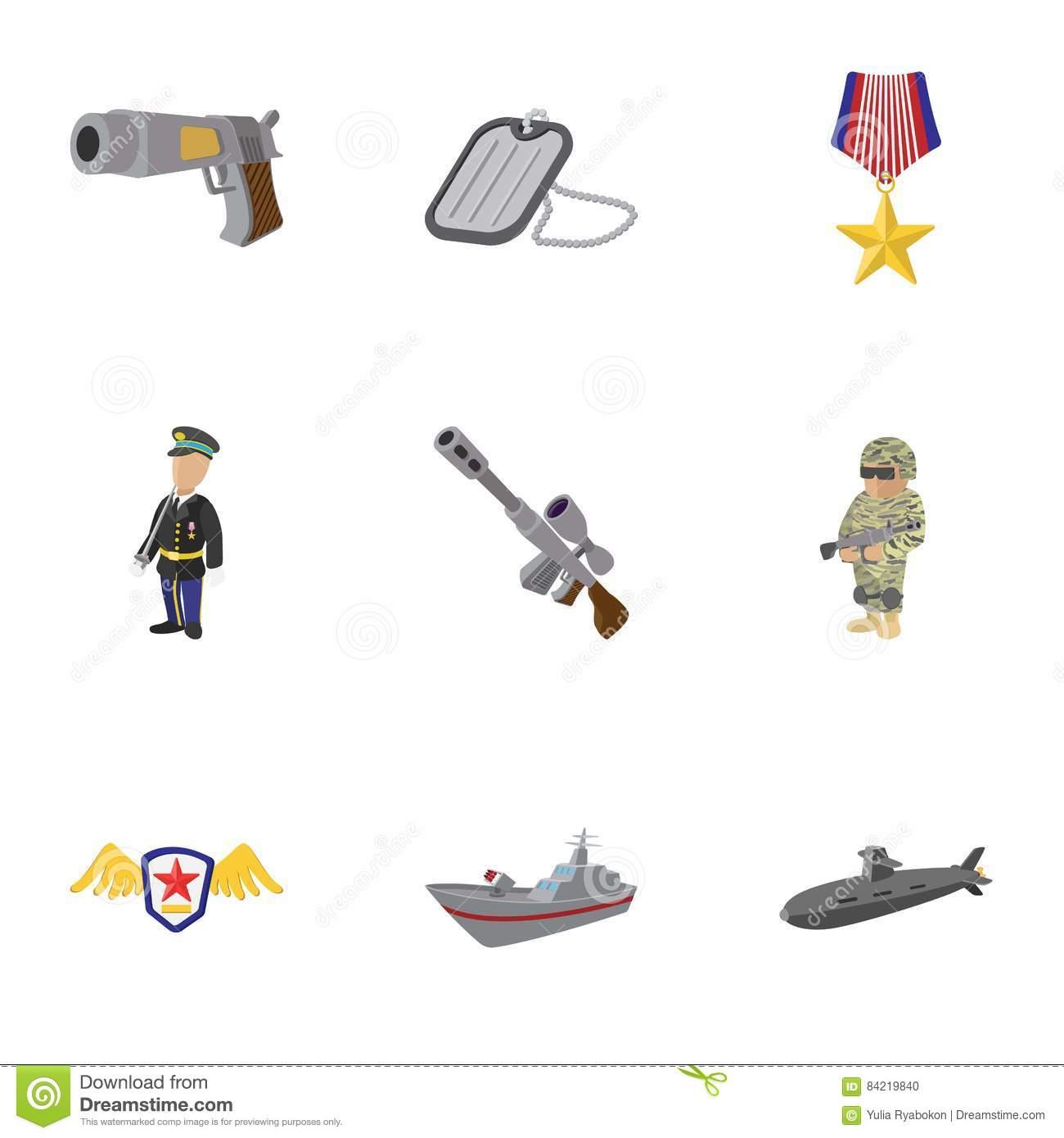 War Equipment Icons Set, Cartoon Style Stock Vector.
