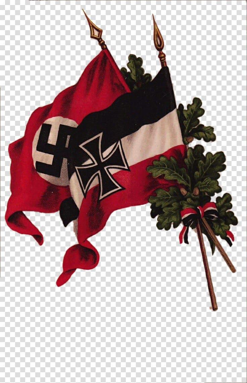 Swastika flags illustration, Nazi Germany Second World War.
