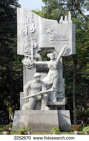 Stock Photography of Statues of war memorial in park, Hanoi.