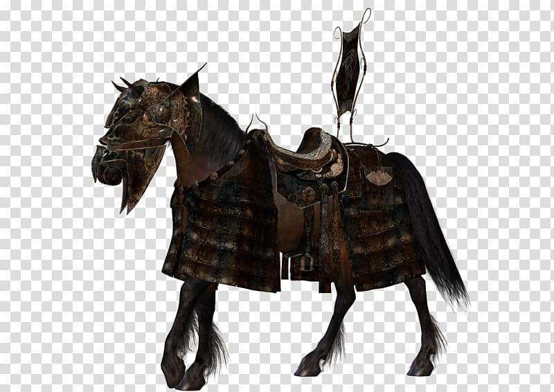 Free Resource Arabian War Horse, brown horse barding.