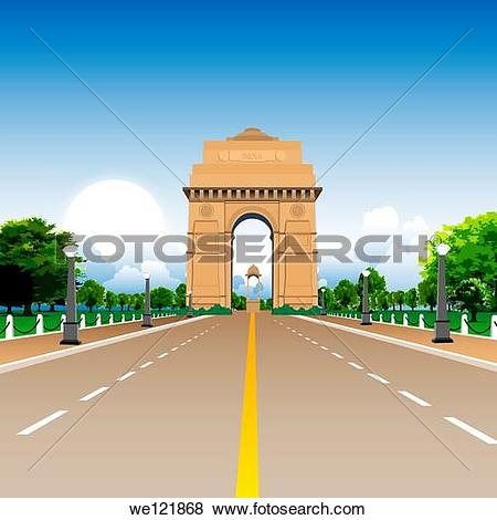 Stock Photo of Lampposts in front of a war memorial, India Gate.