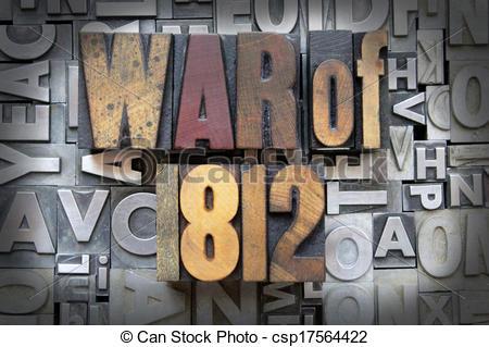 Clip Art of War of 1812 written in vintage letterpress type.