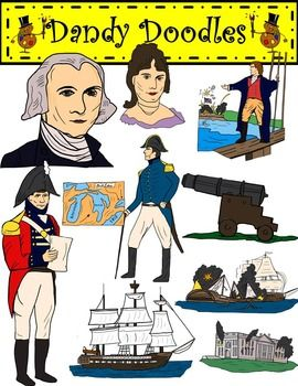 James Madison and the War of 1812 Clip Art by Dandy Doodles.