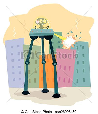 Clipart Vector of Tripod Alien.