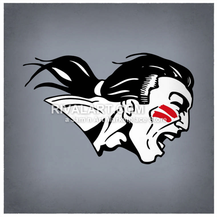 Braves Head War Paint Pony Tail Graphic Man Black White Graphic.