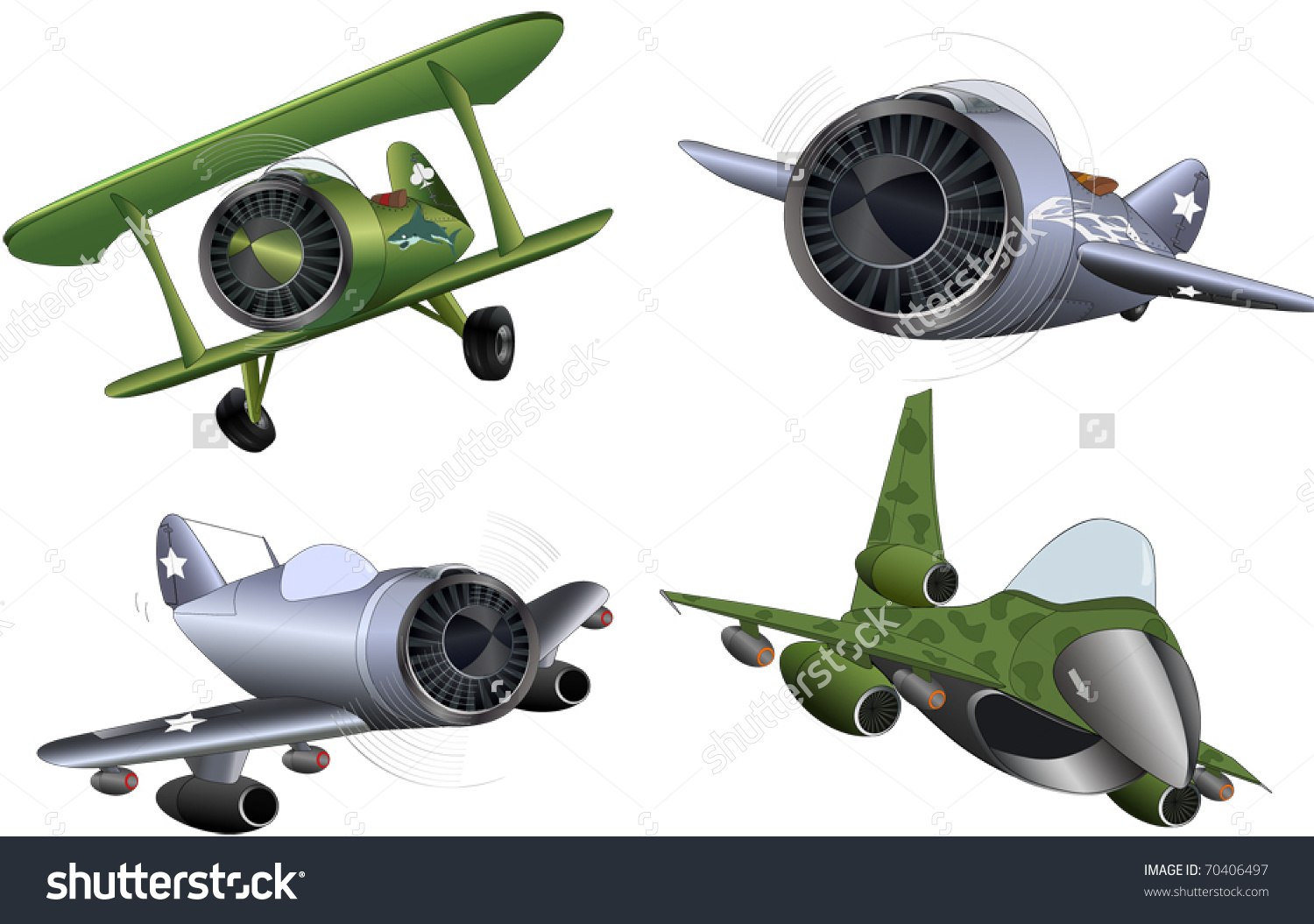 Military Planes Clip Art Stock Vector 70406497.