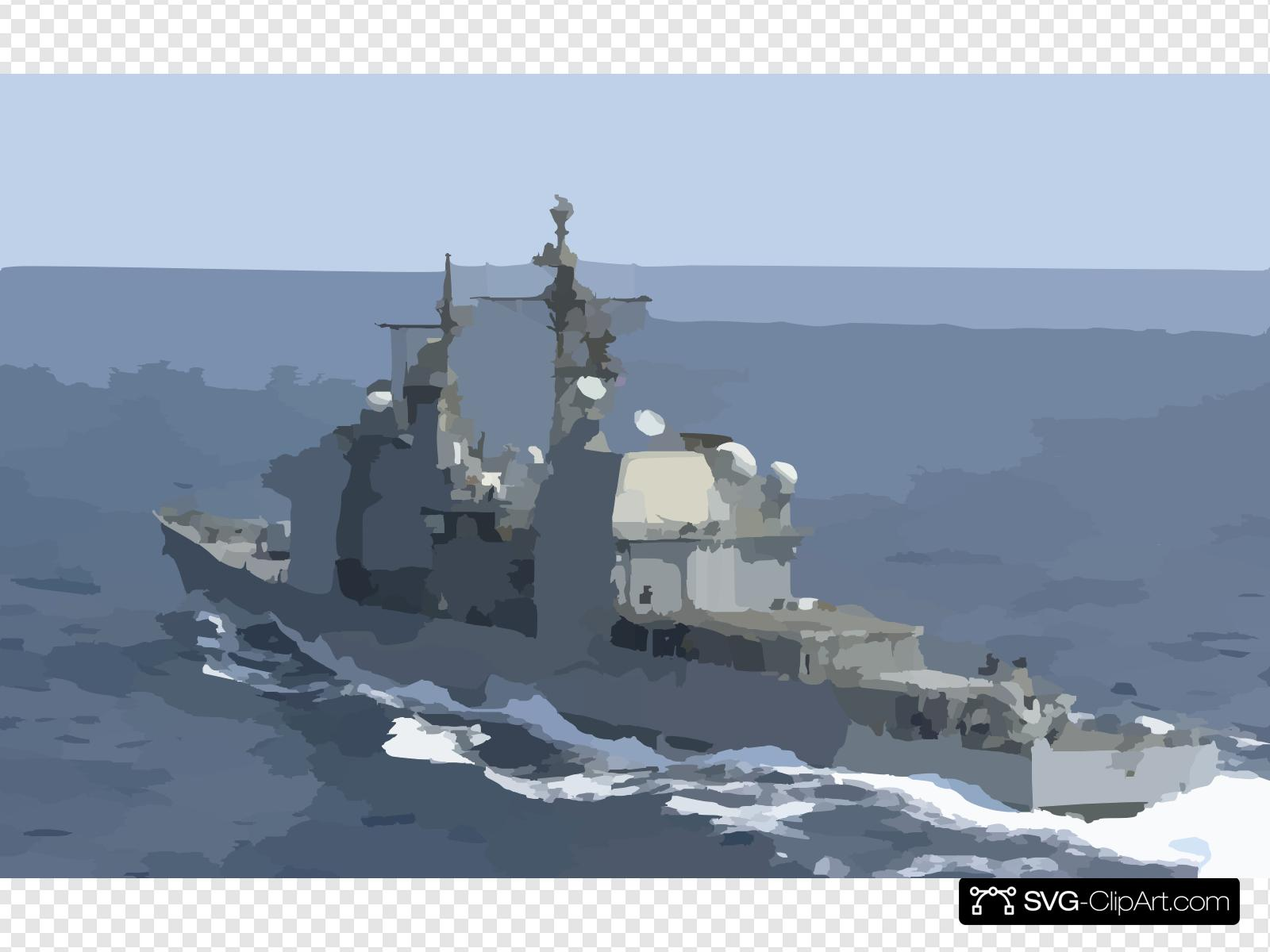 The Guided Missile Cruiser Uss Chosin (cg 65) Steams Away.